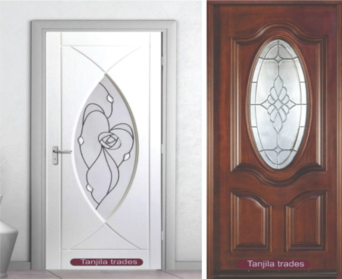 wood door and glass design door